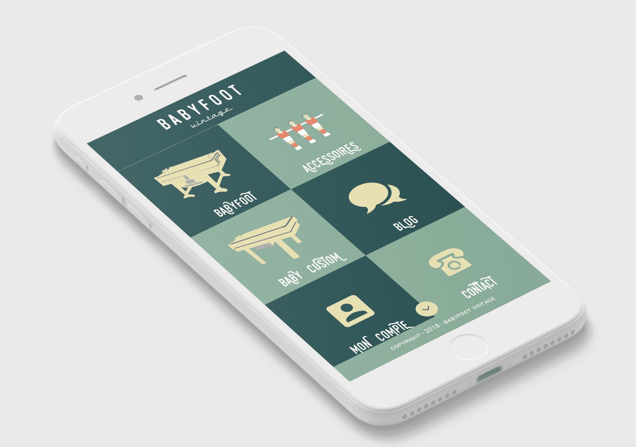 Photo du menu style metro de l'application mobile